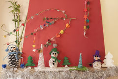 Cheminée de métiers de décorations de Noël Photos stock