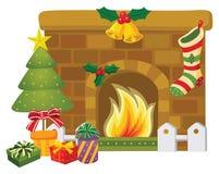 cheminée de Noël Photos stock