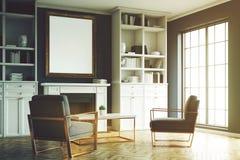 Cheminée de salon, fauteuils bleus, coin, tonne Photographie stock libre de droits