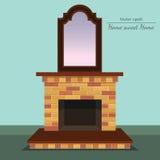 Cheminée de vecteur Miroir antique Maison douce à la maison illustration libre de droits