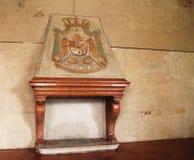 Cheminée en pierre dans le musée Palazzo Te à Mantova, Italie Photo stock