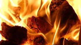 Cheminée - flammes d'un rouge ardent du feu de charbon brûlant dans le fourneau clips vidéos