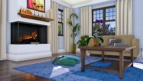 Cheminée moderne dans le salon confortable 3D intérieur illustration libre de droits