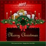 Cheminée rouge de Noël Photo libre de droits