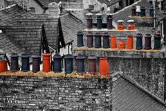 Cheminées au Pays de Galles Photographie stock libre de droits