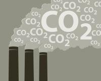 Cheminées d'évacuation des fumées avec du CO2 Photo libre de droits