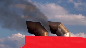 Cheminées d'évacuation des fumées sur un grand bateau banque de vidéos