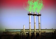 Cheminées de tabagisme, concept environnemental de toxique de destruction Photographie stock libre de droits