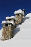 Cheminées en hiver Photos stock