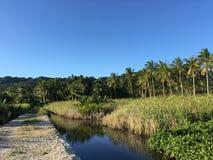 Chemin à côté d'un étang à la campagne Image libre de droits