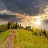 Chemin à la forêt de montagne au coucher du soleil Images libres de droits