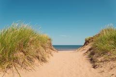 Chemin à la plage à St Peters Bay sur le rivage du nord Photographie stock libre de droits
