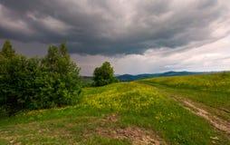 Chemin à travers la colline herbeuse photographie stock libre de droits