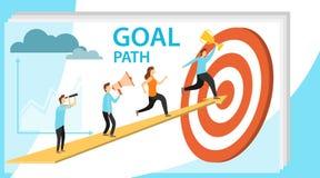 Chemin au but, accomplissement de but, motivation pour le succès Les gens courent vers le haut de la flèche au but Illustration d illustration libre de droits