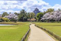 Chemin au château d'Okayama Image libre de droits
