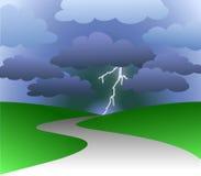 Chemin au contrat à terme orageux Images libres de droits