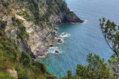 Chemin bleu - Cinque Terre Vernazza image libre de droits
