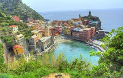 Chemin bleu - Cinque Terre Vernazza photographie stock