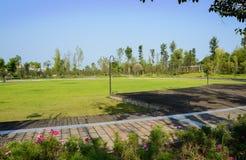 Chemin circulaire autour de terrain de jeu herbeux dans le matin ensoleillé d'été image libre de droits