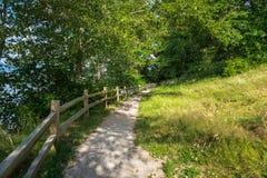 Chemin clôturé de gravier aux bois photographie stock