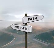 Chemin contre aucun signe de chemin image stock
