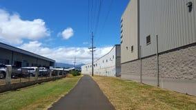 Chemin d'Ashpalt sur le chemin de vélo de Pearl Harbor Image stock