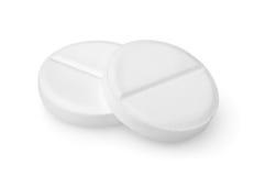 Chemin d'aspirine de deux tablettes Photo stock