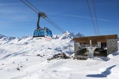 Chemin de câble de Val D'Isere Image stock