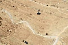 Chemin de câble sur le bastion de Masada, Israël. Photographie stock libre de droits