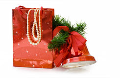 chemin de cadeaux de découpage de Noël de sac photographie stock