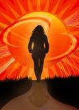 Chemin de coucher du soleil illustration de vecteur