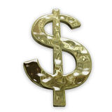 Chemin de découpage de poids de signe du dollar d'or Photographie stock