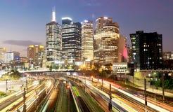 Chemin de fer à Melbourne la nuit Photographie stock
