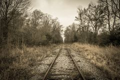 Chemin de fer abandonné en Louisiane rurale Photographie stock