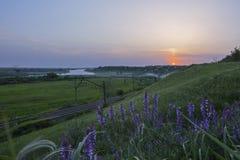 Chemin de fer au coucher du soleil Photographie stock libre de droits