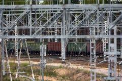 Chemin de fer d'électrification T-conceptions en métal pour les réseaux électriques Photos libres de droits