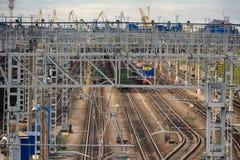 Chemin de fer d'électrification T-conceptions en métal pour les réseaux électriques Image libre de droits