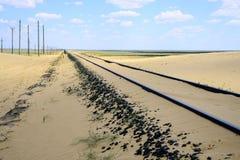 Chemin de fer dans le désert Photos stock