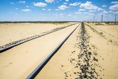 Chemin de fer dans le désert d'Aral Images stock