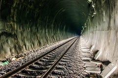 Chemin de fer dans le tunnel par les montagnes Photo stock