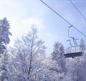 Chemin de fer de câble d'hiver Images libres de droits