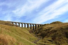 Chemin de fer de Carlisle de banc à dossier de Dentdale de viaduc d'Artengill Images libres de droits