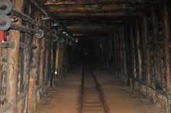 Chemin de fer de mine souterraine Photo stock