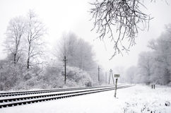 Chemin de fer en hiver Photo stock