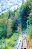 Chemin de fer funiculaire à Bergen, Norvège, bâti s'élevant Floyen image libre de droits