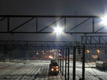 Chemin de fer la nuit Image libre de droits