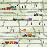 Chemin de fer sans couture de modèle d'enfants drôles avec des locomotives illustration stock