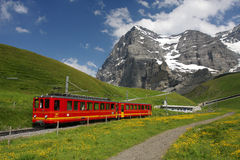 Chemin de fer suisse de montagne photo libre de droits