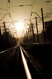 Chemin de fer sur le coucher du soleil 3 Photo stock