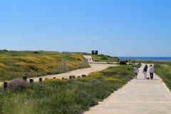 Chemin de marche de côté de mer de Paphos photographie stock libre de droits